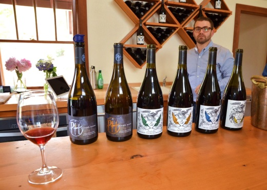 The six Pinots we tasted at Purple Hands
