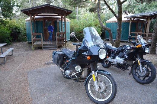 The bikes parked outside the girls yurt