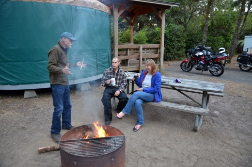 Joe, a former Boy Scout leader tells stories by the camp fire