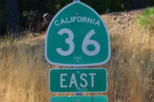 An awesome road for motorcycles, California 36. We rode from the western end to the intersection of 3 northbound.