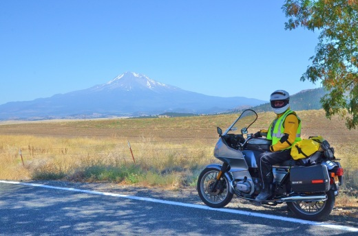 Jerome waits for me to photograph Mt. Shasta