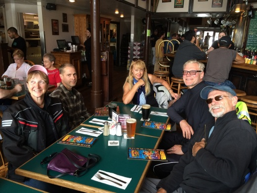 Our group having lunch at the Lost Coast Brewery, still happy and relaxed.