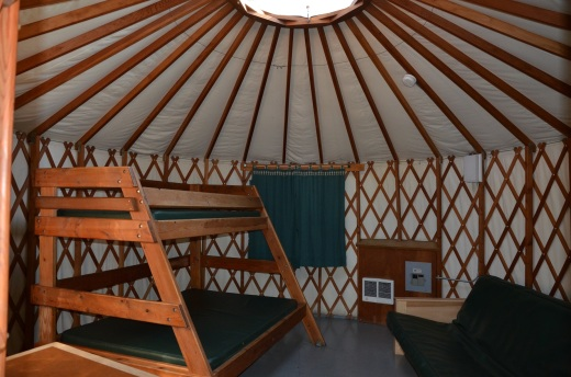 The yurt interior. We rented these for $40 per night.