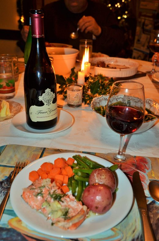Christmas dinner or salmon, potatoes, carrots, green beans and of course an nice Oregon Pinot Noir, Four Graces.