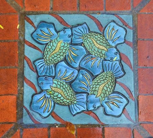 Sidewalk tile closeup