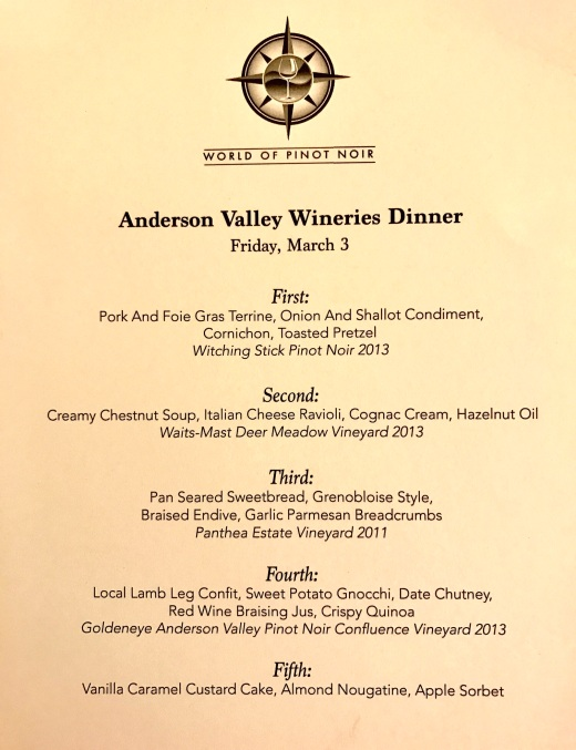 The menu from the Anderson Valley Wineries Dinner