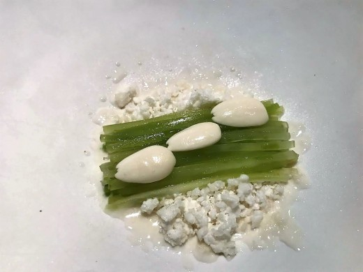 Celtuce, oregano and almond