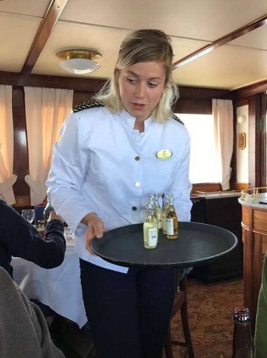 Julia serves schnapps