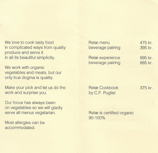 menu price